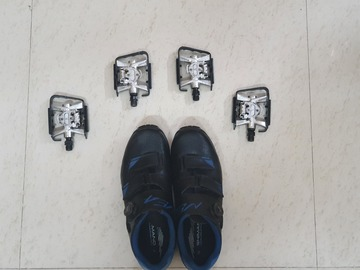 Cycling Content: Shimano MTB cleats shoe, with 2 pair btwin MTB cleats pedals