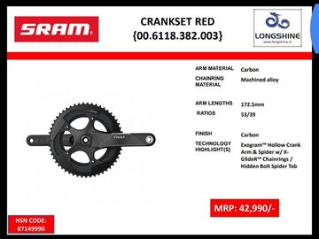 Cycling Content: SRAM RED CARBON CRANKSET. 53/39       172.5MM -26000 rs